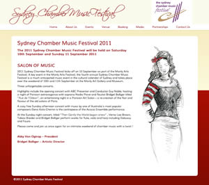 Sydney Chamber Music Festival website